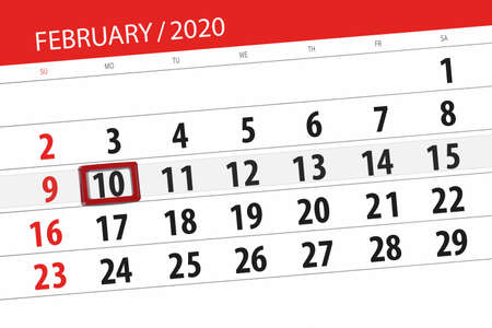 Calendar planner for the month february 2020, deadline day, 10, monday. Фото со стока - 138039392