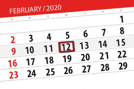 Calendar planner for the month february 2020, deadline day, 12, wednesday. Фото со стока - 138039394
