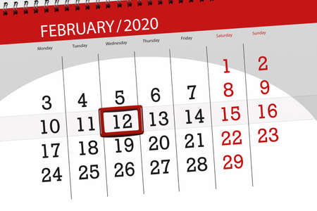 Calendar planner for the month february 2020, deadline day, 12, wednesday. Фото со стока - 138039419