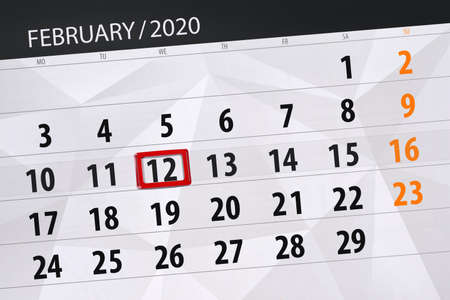Calendar planner for the month february 2020, deadline day, 12, wednesday. Фото со стока - 138039420
