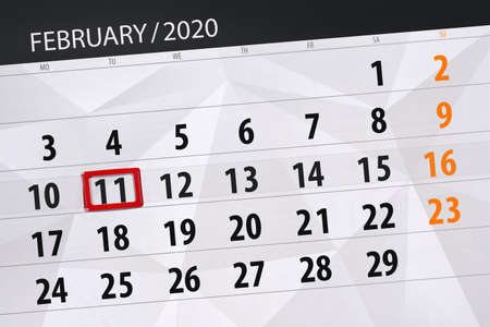 Calendar planner for the month february 2020, deadline day, 11, tuesday. Фото со стока