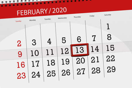 Calendar planner for the month february 2020, deadline day, 13, thursday. Фото со стока - 137790925