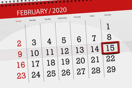 Calendar planner for the month february 2020, deadline day, 15, saturday.