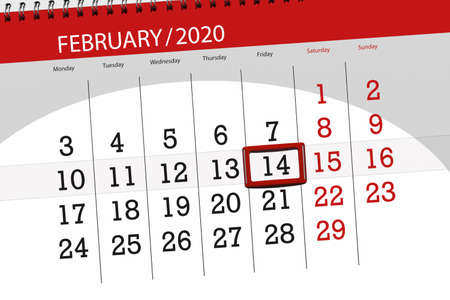 Calendar planner for the month february 2020, deadline day, 14, friday. Фото со стока - 137791356