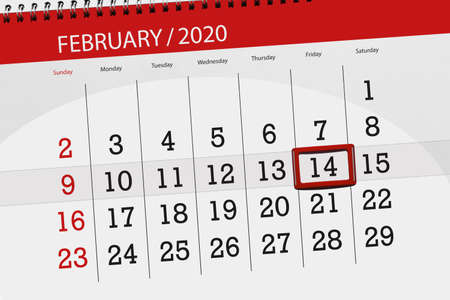 Calendar planner for the month february 2020, deadline day, 14, friday. Фото со стока - 137798312
