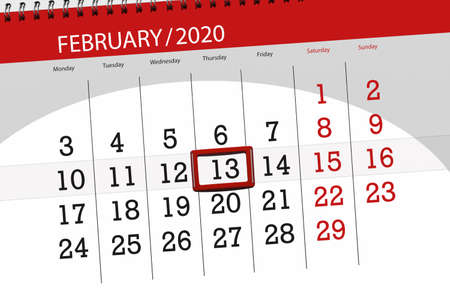 Calendar planner for the month february 2020, deadline day, 13, thursday. Фото со стока