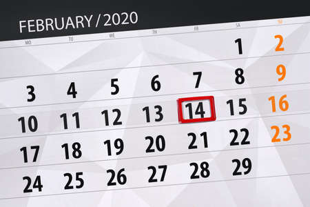 Calendar planner for the month february 2020, deadline day, 14, friday. Фото со стока - 138039431