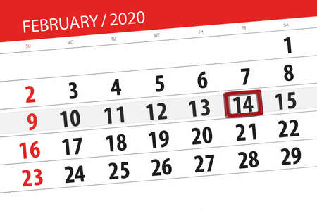 Calendar planner for the month february 2020, deadline day, 14, friday. Фото со стока - 138039432
