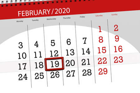 Calendar planner for the month february 2020, deadline day, 19, wednesday.