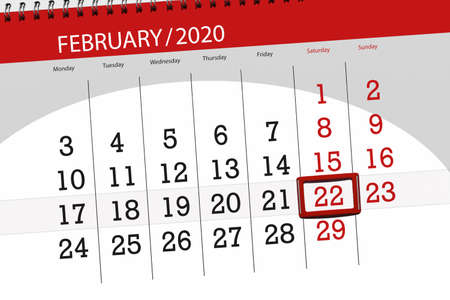 Calendar planner for the month february 2020, deadline day, 22, saturday.