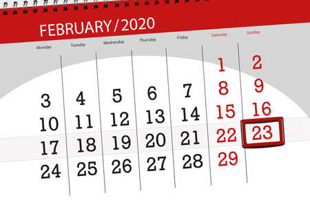 Calendar planner for the month february 2020, deadline day, 23, sunday. Фото со стока - 138196474