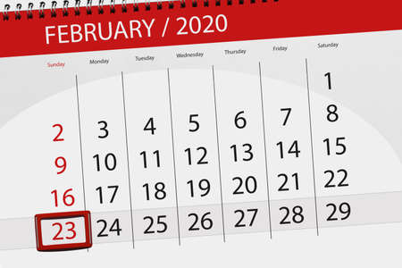 Calendar planner for the month february 2020, deadline day, 23, sunday.