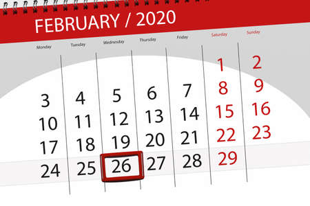 Calendar planner for the month february 2020, deadline day, 26, wednesday. Фото со стока