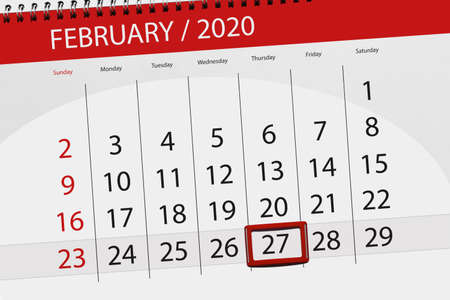 Calendar planner for the month february 2020, deadline day, 27, thursday.
