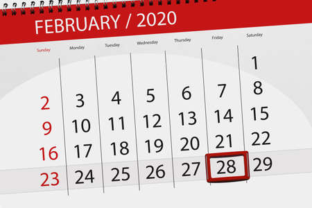 Calendar planner for the month february 2020, deadline day, 28, friday.