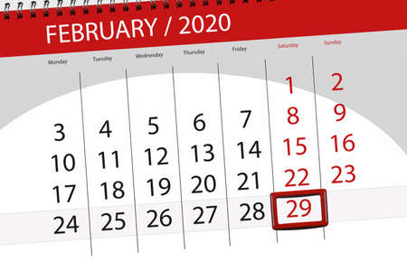Calendar planner for the month february 2020, deadline day, 29, saturday.