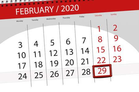 Kalenderplaner für den Monat Februar 2020, Stichtag 29, Samstag. Standard-Bild