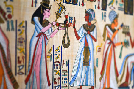 Egyptian painting on old parchment paper.