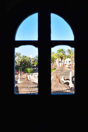 The view from the window on the territory of the hotel in Egypt.