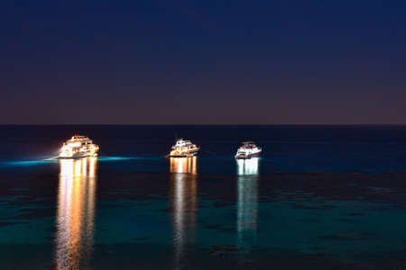 Diver yachts stand near the coral reef at night.