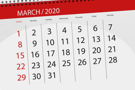 Calendar planner for the month march 2020, deadline day.