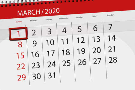 Calendar planner for the month march 2020, deadline day, 01, sunday. Фото со стока