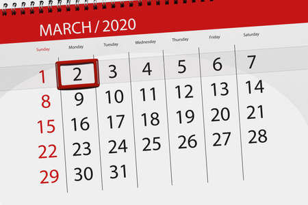 Calendar planner for the month march 2020, deadline day, 02, monday.
