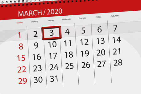 Calendar planner for the month march 2020, deadline day, 3, tuesday.
