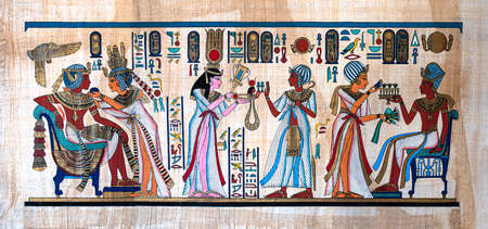 Ancient Egyptian painting on papyrus.