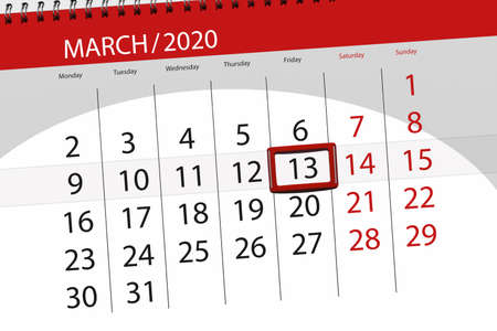 Calendar planner for the month march 2020, deadline day, 13, friday.