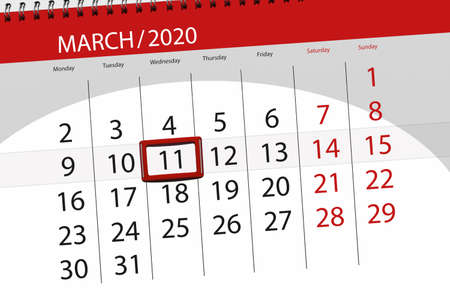 Calendar planner for the month march 2020, deadline day, 11, wednesday. Фото со стока
