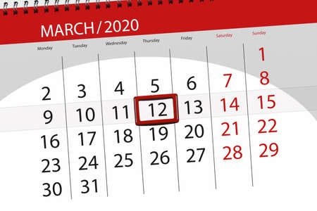 Calendar planner for the month march 2020, deadline day, 12, thursday. Фото со стока