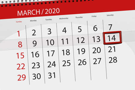 Calendar planner for the month march 2020, deadline day, 14, saturday. Фото со стока