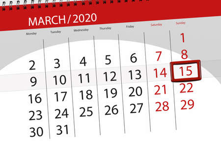 Calendar planner for the month march 2020, deadline day, 15, sunday.