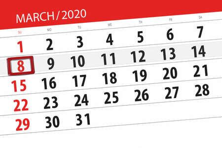 Calendar planner for the month march 2020, deadline day, 8, sunday.