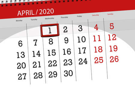 Calendar planner for the month april 2020, deadline day, 1, wednesday. Фото со стока
