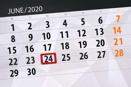 Calendar planner for the month june 2020, deadline day, 24, wednesday.