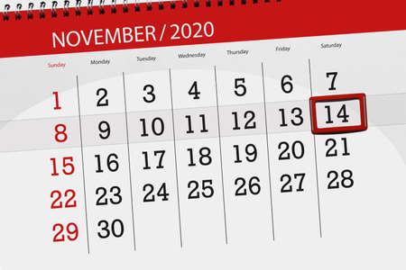 Calendar planner for the month november 2020, deadline day, 14, saturday.
