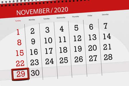 Calendar planner for the month november 2020, deadline day, 29, sunday.