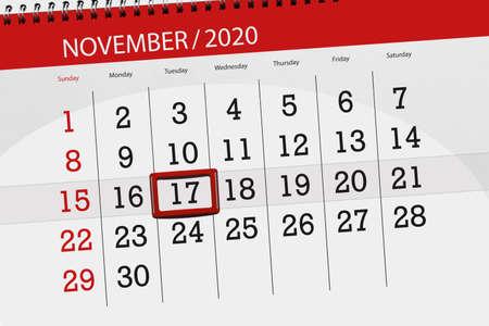 Calendar planner for the month november 2020, deadline day, 17, tuesday.