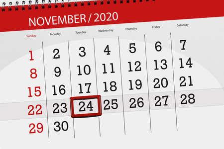 Calendar planner for the month november 2020, deadline day, 24, tuesday. 免版税图像