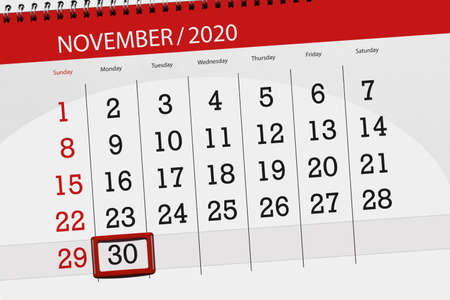 Calendar planner for the month november 2020, deadline day, 30, monday.
