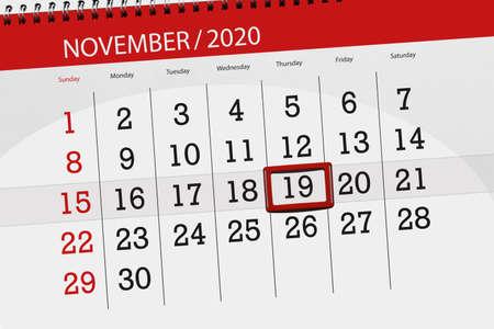 Calendar planner for the month november 2020, deadline day, 19, thursday.
