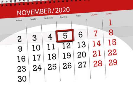 Calendar planner for the month november 2020, deadline day, 5, thursday. 免版税图像