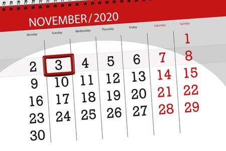 Calendar planner for the month november 2020, deadline day, 3, tuesday.