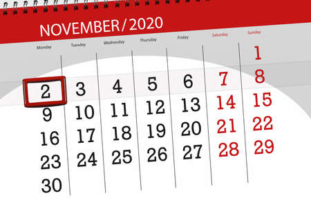 Calendar planner for the month november 2020, deadline day, 2, monday. 免版税图像