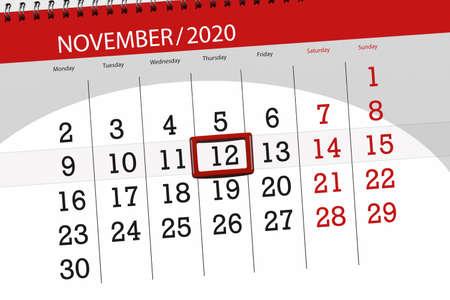 Calendar planner for the month november 2020, deadline day, 12, thursday. 免版税图像
