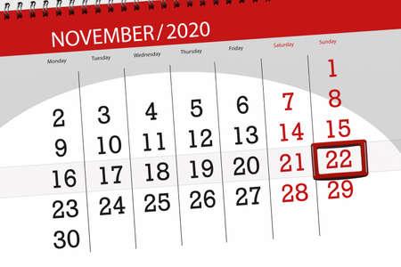 Calendar planner for the month november 2020, deadline day, 22, sunday.