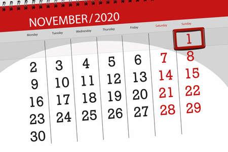 Calendar planner for the month november 2020, deadline day, 1, sunday.