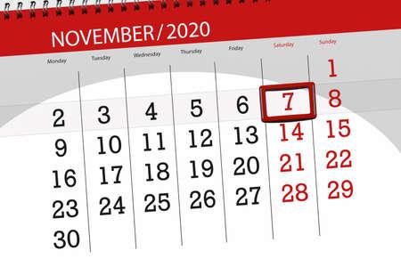 Calendar planner for the month november 2020, deadline day, 7, saturday.